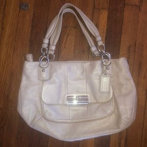 Coach Kristin cream leather bag purse chain 16814